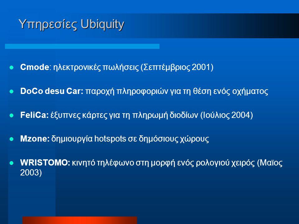 Υπηρεσίες Ubiquity Cmode: ηλεκτρονικές πωλήσεις (Σεπτέμβριος 2001) DoCo desu Car: παροχή πληροφοριών για τη θέση ενός οχήματος FeliCa: έξυπνες κάρτες για τη πληρωμή διοδίων (Ιούλιος 2004) Mzone: δημιουργία hotspots σε δημόσιους χώρους WRISTOMO: κινητό τηλέφωνο στη μορφή ενός ρολoγιού χειρός (Μαϊος 2003)
