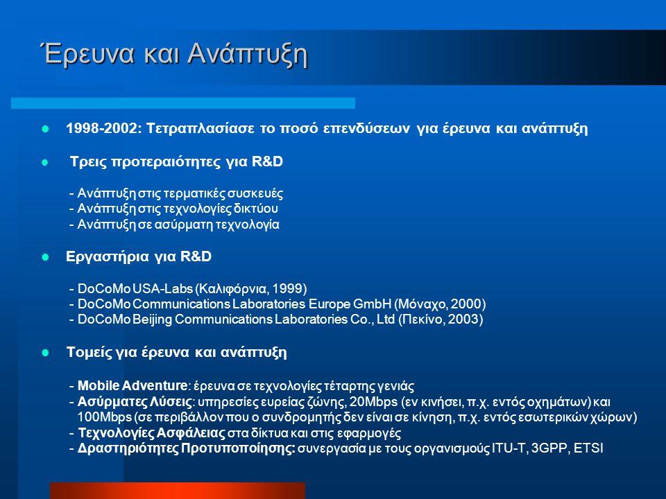 Έρευνα και Ανάπτυξη 1998-2002: Τετραπλασίασε το ποσό επενδύσεων για έρευνα και ανάπτυξη Τρεις προτεραιότητες για R&D - Ανάπτυξη στις τερματικές συσκευές - Ανάπτυξη στις τεχνολογίες δικτύου - Ανάπτυξη σε ασύρματη τεχνολογία Εργαστήρια για R&D - DoCoMo USA-Labs (Καλιφόρνια, 1999) - DoCoMo Communications Laboratories Europe GmbH (Μόναχο, 2000) - DoCoMo Beijing Communications Laboratories Co., Ltd (Πεκίνο, 2003) Τομείς για έρευνα και ανάπτυξη - Mobile Adventure: έρευνα σε τεχνολογίες τέταρτης γενιάς - Ασύρματες Λύσεις: υπηρεσίες ευρείας ζώνης, 20Mbps (εν κινήσει, π.χ.