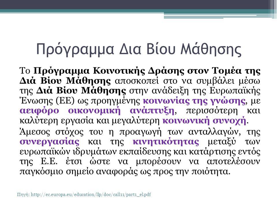 Πρόγραμμα Δια Βίου Μάθησης Το Πρόγραμμα Κοινοτικής Δράσης στον Τομέα της Διά Βίου Μάθησης αποσκοπεί στο να συμβάλει μέσω της Διά Βίου Μάθησης στην ανάδειξη της Ευρωπαϊκής Ένωσης (ΕΕ) ως προηγμένης κοινωνίας της γνώσης, με αειφόρο οικονομική ανάπτυξη, περισσότερη και καλύτερη εργασία και μεγαλύτερη κοινωνική συνοχή.
