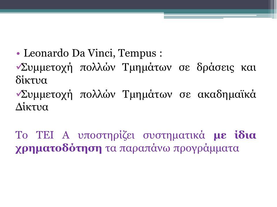 Leonardo Da Vinci, Tempus : Συμμετοχή πολλών Τμημάτων σε δράσεις και δίκτυα Συμμετοχή πολλών Τμημάτων σε ακαδημαϊκά Δίκτυα Το ΤΕΙ Α υποστηρίζει συστηματικά με ίδια χρηματοδότηση τα παραπάνω προγράμματα