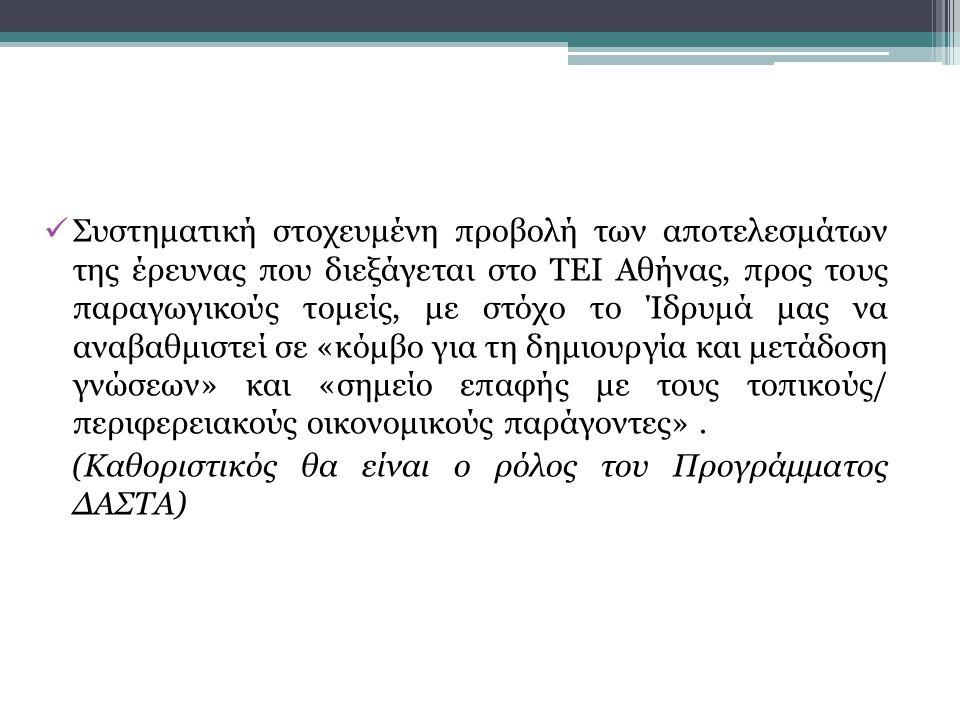 Συστηματική στοχευμένη προβολή των αποτελεσμάτων της έρευνας που διεξάγεται στο ΤΕΙ Αθήνας, προς τους παραγωγικούς τομείς, με στόχο το Ίδρυμά μας να αναβαθμιστεί σε «κόμβο για τη δημιουργία και μετάδοση γνώσεων» και «σημείο επαφής με τους τοπικούς/ περιφερειακούς οικονομικούς παράγοντες».