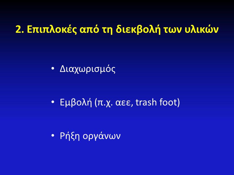 2.Επιπλοκές από τη διεκβολή των υλικών Διαχωρισμός Εμβολή (π.χ. αεε, trash foot) Ρήξη οργάνων