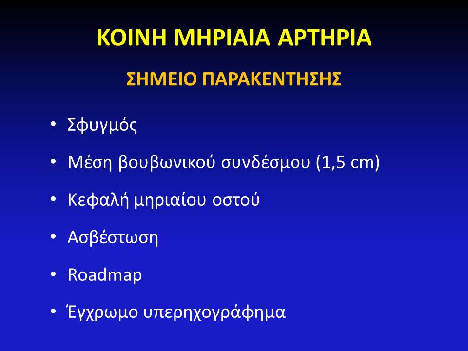 ΚΟΙΝΗ ΜΗΡΙΑΙΑ ΑΡΤΗΡΙΑ ΣΗΜΕΙΟ ΠΑΡΑΚΕΝΤΗΣΗΣ Σφυγμός Μέση βουβωνικού συνδέσμου (1,5 cm) Κεφαλή μηριαίου οστού Ασβέστωση Roadmap Έγχρωμο υπερηχογράφημα