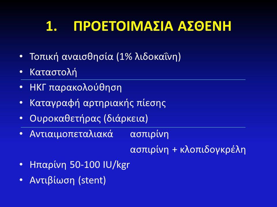 1.ΠΡΟΕΤΟΙΜΑΣΙΑ ΑΣΘΕΝΗ Τοπική αναισθησία (1% λιδοκαΐνη) Καταστολή ΗΚΓ παρακολούθηση Καταγραφή αρτηριακής πίεσης Ουροκαθετήρας (διάρκεια) Αντιαιμοπεταλι