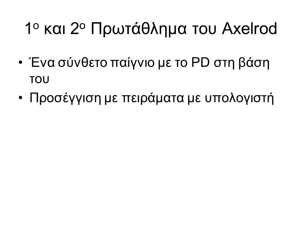 1 ο και 2 ο Πρωτάθλημα του Axelrod Ένα σύνθετο παίγνιο με το PD στη βάση του Προσέγγιση με πειράματα με υπολογιστή