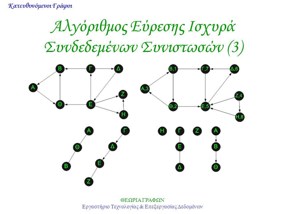 Κατευθυνόμενοι Γράφοι ΘΕΩΡΙΑ ΓΡΑΦΩΝ Εργαστήριο Τεχνολογίας & Επεξεργασίας Δεδομένων Αλγόριθμος Εύρεσης Ισχυρά Συνδεδεμένων Συνιστωσών (3)