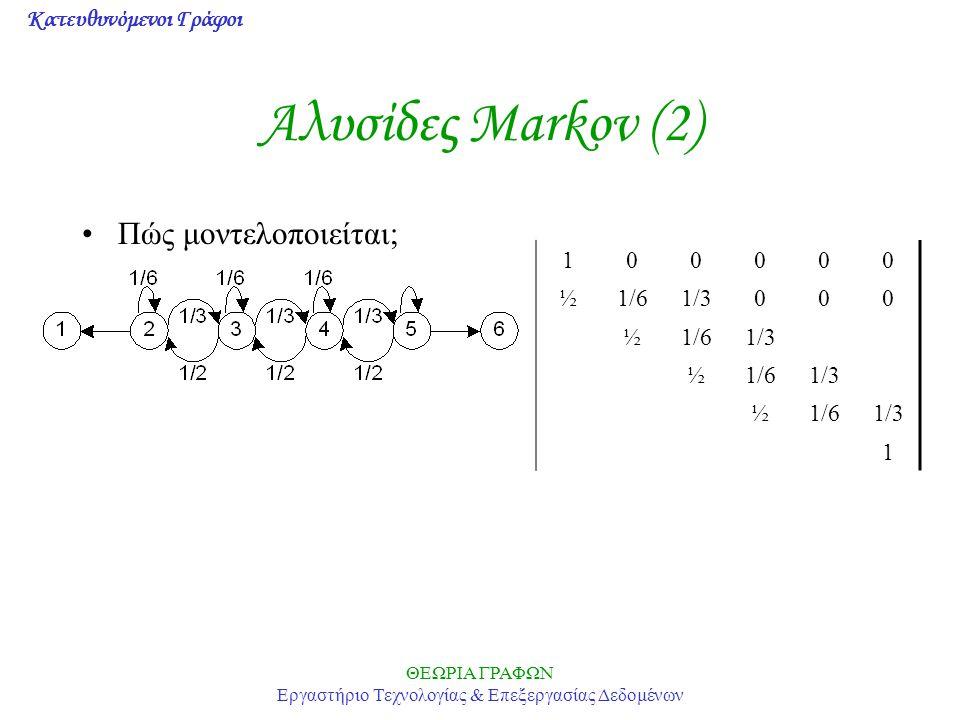 Κατευθυνόμενοι Γράφοι ΘΕΩΡΙΑ ΓΡΑΦΩΝ Εργαστήριο Τεχνολογίας & Επεξεργασίας Δεδομένων Αλυσίδες Markov (2) Πώς μοντελοποιείται; 100000 ½1/61/3000 ½1/61/3 ½1/61/3 ½1/61/3 1