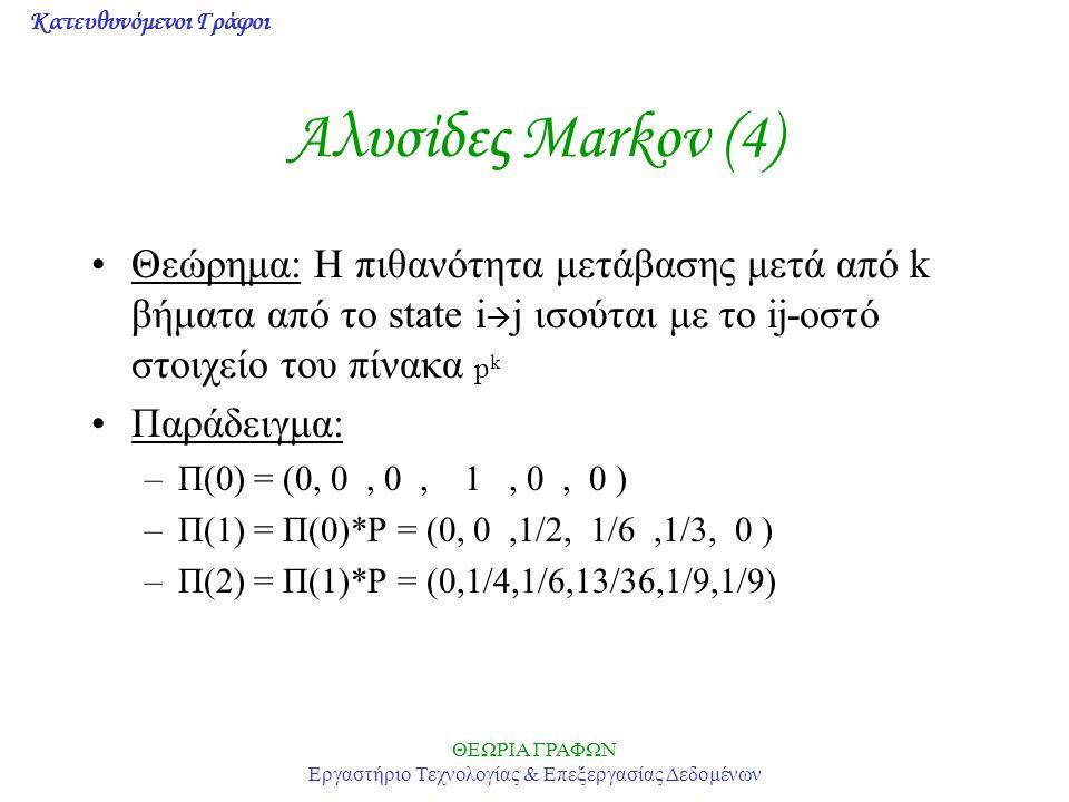 Κατευθυνόμενοι Γράφοι ΘΕΩΡΙΑ ΓΡΑΦΩΝ Εργαστήριο Τεχνολογίας & Επεξεργασίας Δεδομένων Αλυσίδες Markov (4) Θεώρημα: Η πιθανότητα μετάβασης μετά από k βήματα από το state i  j ισούται με το ij-οστό στοιχείο του πίνακα p k Παράδειγμα: –Π(0) = (0, 0, 0, 1, 0, 0 ) –Π(1) = Π(0)*P = (0, 0,1/2, 1/6,1/3, 0 ) –Π(2) = Π(1)*P = (0,1/4,1/6,13/36,1/9,1/9)