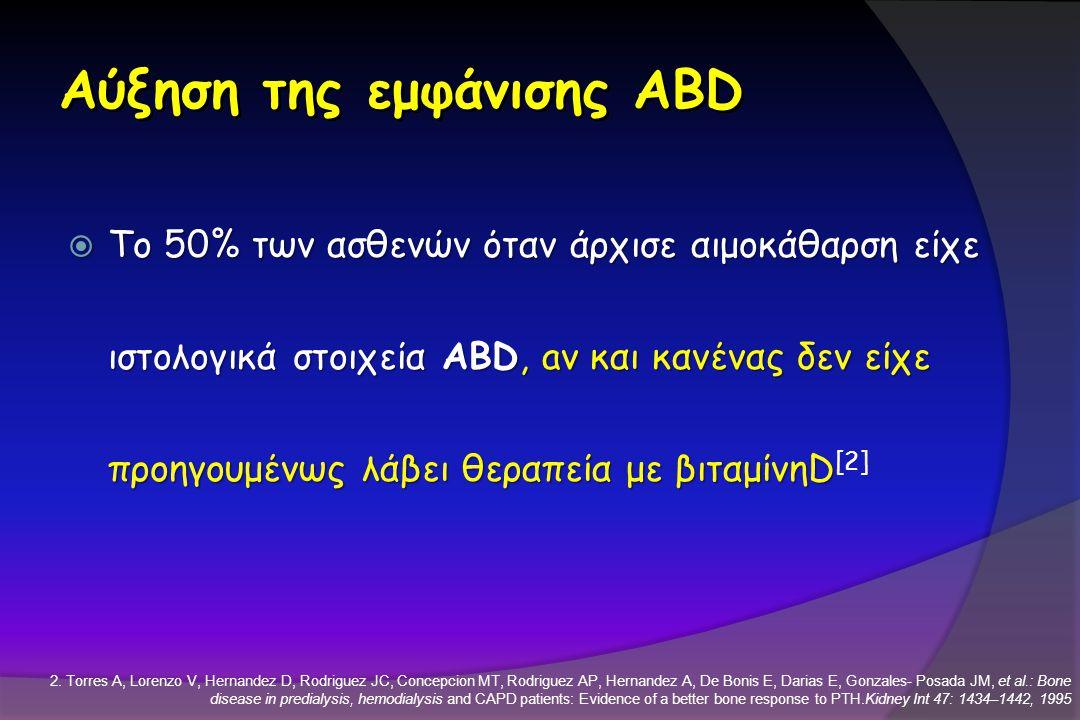 Αύξηση της εμφάνισης ABD  Το 50% των ασθενών όταν άρχισε αιμοκάθαρση είχε ιστολογικά στοιχεία ABD, aν και κανένας δεν είχε προηγουμένως λάβει θεραπεί