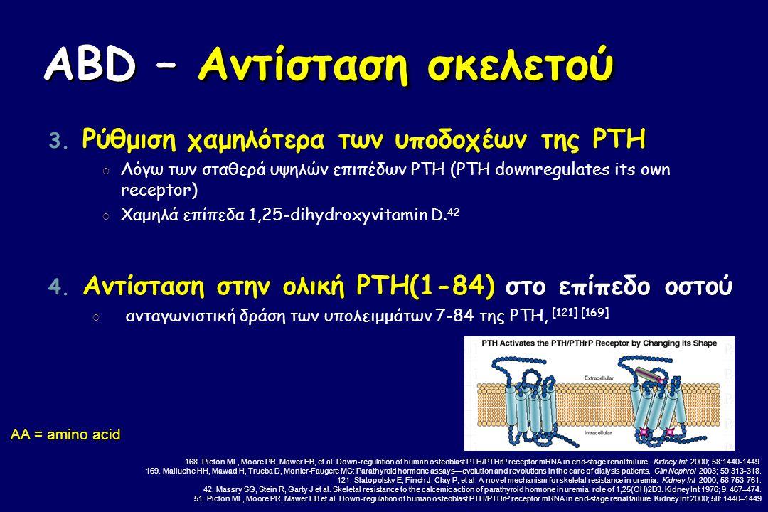 Αντίσταση σκελετού ABD – Αντίσταση σκελετού 3. Ρύθμιση χαμηλότερα των υποδοχέων της PTH ○ Λόγω των σταθερά υψηλών επιπέδων PTH (PTH downregulates its