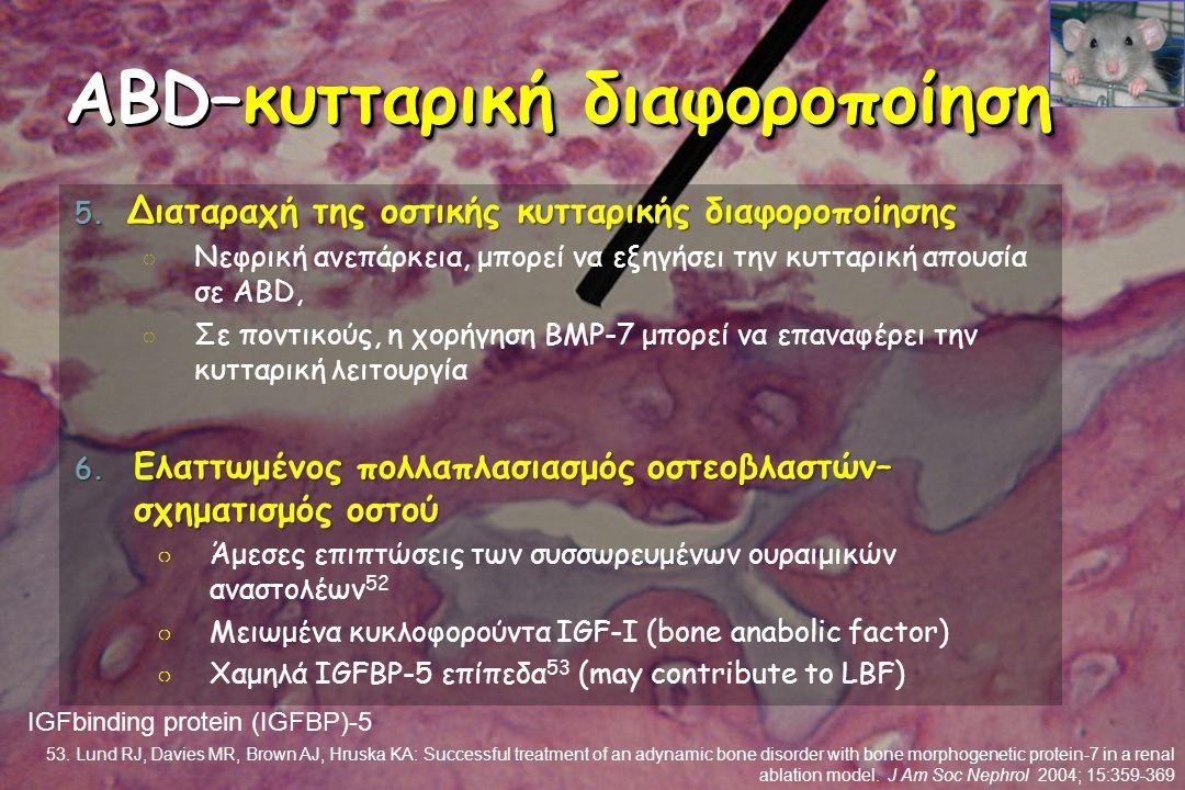 κυτταρική διαφοροποίηση ABD–κυτταρική διαφοροποίηση 5. Διαταραχή της οστικής κυτταρικής διαφοροποίησης ○ Νεφρική ανεπάρκεια, μπορεί να εξηγήσει την κυ