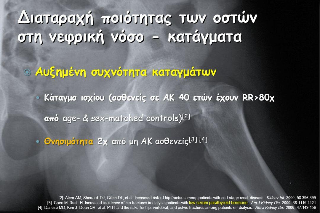 Διαταραχή ποιότητας των οστών στη νεφρική νόσο - κατάγματα  Αυξημένη συχνότητα καταγμάτων Κάταγμα ισχίου (ασθενείς σε ΑΚ 40 ετών έχουν RR>80χ από age