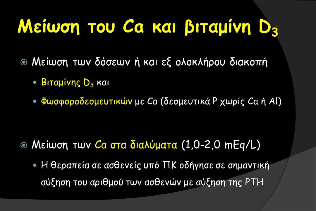 Μείωση του Ca και βιταμίνη D 3  Μείωση των δόσεων ή και εξ ολοκλήρου διακοπή Βιταμίνης D 3 και Φωσφοροδεσμευτικών με Ca (δεσμευτικά P χωρίς Ca ή Al)