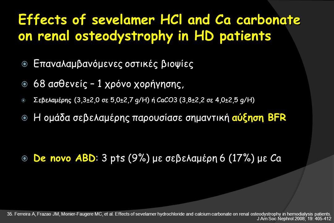 Effects of sevelamer HCl and Ca carbonate on renal osteodystrophy in HD patients  Επαναλαμβανόμενες οστικές βιοψίες  68 ασθενείς – 1 χρόνο χορήγησης