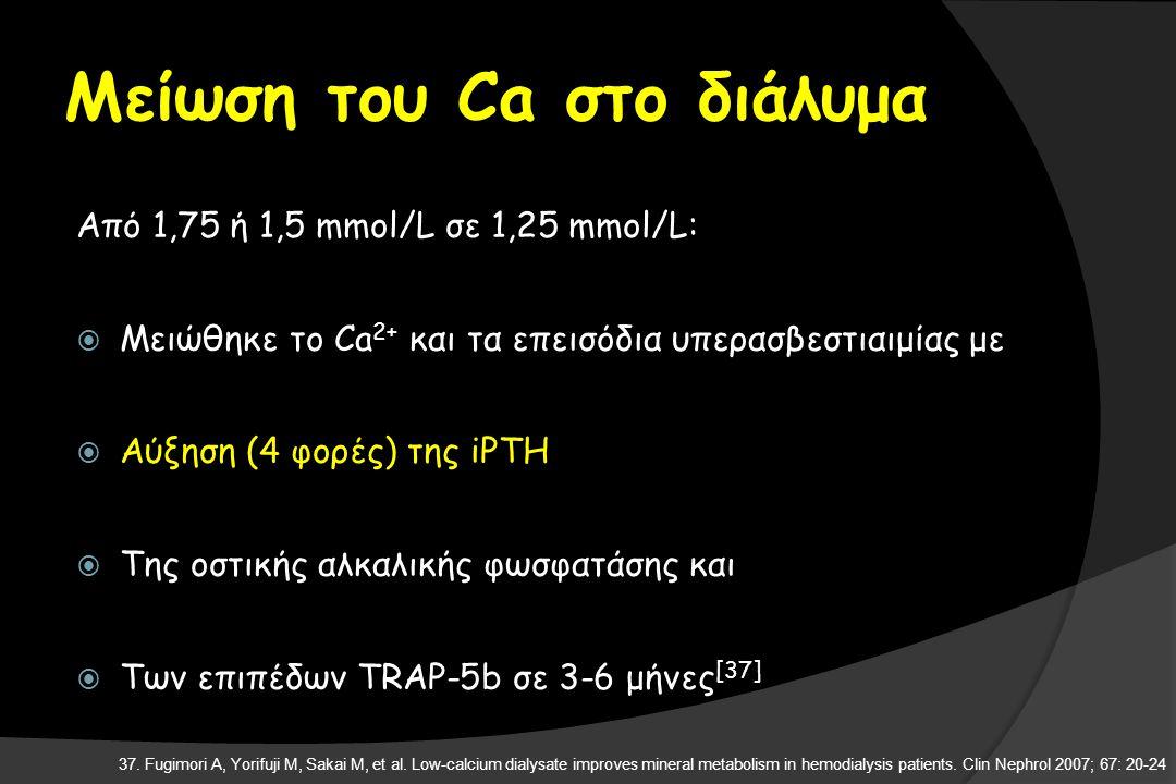 Μείωση του Ca στο διάλυμα Από 1,75 ή 1,5 mmol/L σε 1,25 mmol/L:  Μειώθηκε το Ca 2+ και τα επεισόδια υπερασβεστιαιμίας με  Αύξηση (4 φορές) της iPTH