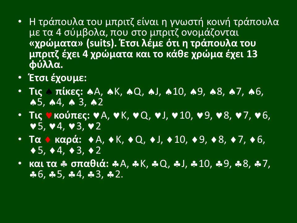 Η τράπουλα του μπριτζ είναι η γνωστή κοινή τράπουλα με τα 4 σύμβολα, που στο μπριτζ ονομάζονται «χρώματα» (suits). Έτσι λέμε ότι η τράπουλα του μπριτζ
