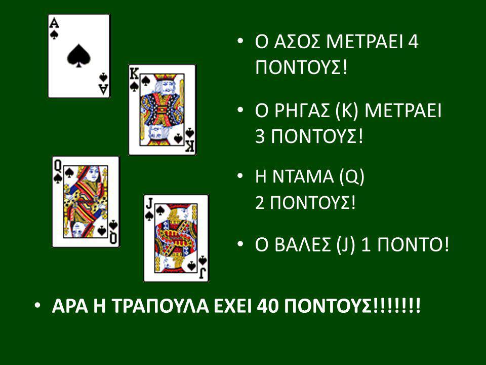 Ο ΑΣΟΣ ΜΕΤΡΑΕΙ 4 ΠΟΝΤΟΥΣ! Ο ΡΗΓΑΣ (Κ) ΜΕΤΡΑΕΙ 3 ΠΟΝΤΟΥΣ! Η ΝΤΑΜΑ (Q) 2 ΠΟΝΤΟΥΣ! Ο ΒΑΛΕΣ (J) 1 ΠΟΝΤΟ! ΑΡΑ Η ΤΡΑΠΟΥΛΑ ΕΧΕΙ 40 ΠΟΝΤΟΥΣ!!!!!!!