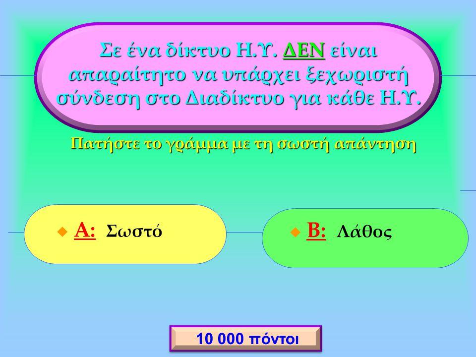  A: Σωστό A:  B: Λάθος B: Σε ένα δίκτυο Η.Υ.