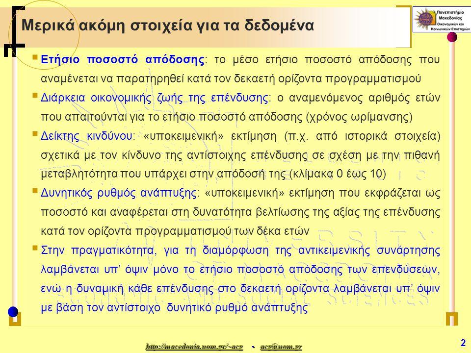http://macedonia.uom.gr/~acghttp://macedonia.uom.gr/~acg - acg@uom.gr acg@uom.gr http://macedonia.uom.gr/~acgacg@uom.gr 2 Μερικά ακόμη στοιχεία για τα δεδομένα  Ετήσιο ποσοστό απόδοσης: το μέσο ετήσιο ποσοστό απόδοσης που αναμένεται να παρατηρηθεί κατά τον δεκαετή ορίζοντα προγραμματισμού  Διάρκεια οικονομικής ζωής της επένδυσης: ο αναμενόμενος αριθμός ετών που απαιτούνται για το ετήσιο ποσοστό απόδοσης (χρόνος ωρίμανσης)  Δείκτης κινδύνου: «υποκειμενική» εκτίμηση (π.χ.