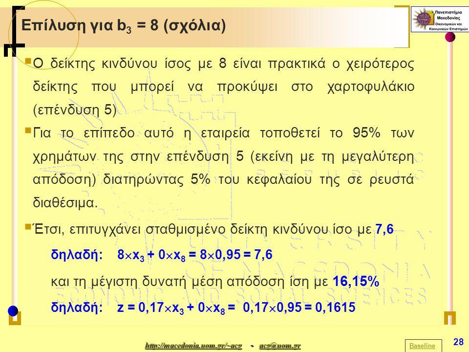 http://macedonia.uom.gr/~acghttp://macedonia.uom.gr/~acg - acg@uom.gr acg@uom.gr http://macedonia.uom.gr/~acgacg@uom.gr 28 Επίλυση για b 3 = 8 (σχόλια) Baseline  Ο δείκτης κινδύνου ίσος με 8 είναι πρακτικά ο χειρότερος δείκτης που μπορεί να προκύψει στο χαρτοφυλάκιο (επένδυση 5)  Για το επίπεδο αυτό η εταιρεία τοποθετεί το 95% των χρημάτων της στην επένδυση 5 (εκείνη με τη μεγαλύτερη απόδοση) διατηρώντας 5% του κεφαλαίου της σε ρευστά διαθέσιμα.