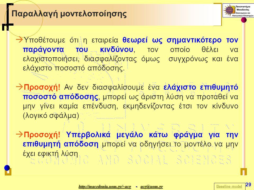 http://macedonia.uom.gr/~acghttp://macedonia.uom.gr/~acg - acg@uom.gr acg@uom.gr http://macedonia.uom.gr/~acgacg@uom.gr 29 Παραλλαγή μοντελοποίησης Baseline model  Υποθέτουμε ότι η εταιρεία θεωρεί ως σημαντικότερο τον παράγοντα του κινδύνου, τον οποίο θέλει να ελαχιστοποιήσει, διασφαλίζοντας όμως συγχρόνως και ένα ελάχιστο ποσοστό απόδοσης.
