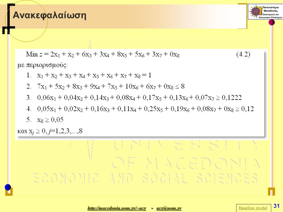 http://macedonia.uom.gr/~acghttp://macedonia.uom.gr/~acg - acg@uom.gr acg@uom.gr http://macedonia.uom.gr/~acgacg@uom.gr 31 Ανακεφαλαίωση Baseline model