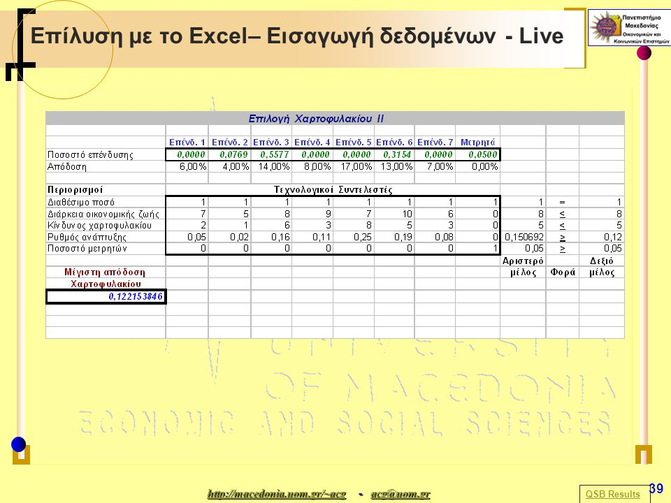 http://macedonia.uom.gr/~acghttp://macedonia.uom.gr/~acg - acg@uom.gr acg@uom.gr http://macedonia.uom.gr/~acgacg@uom.gr 39 Επίλυση με το Excel– Εισαγω