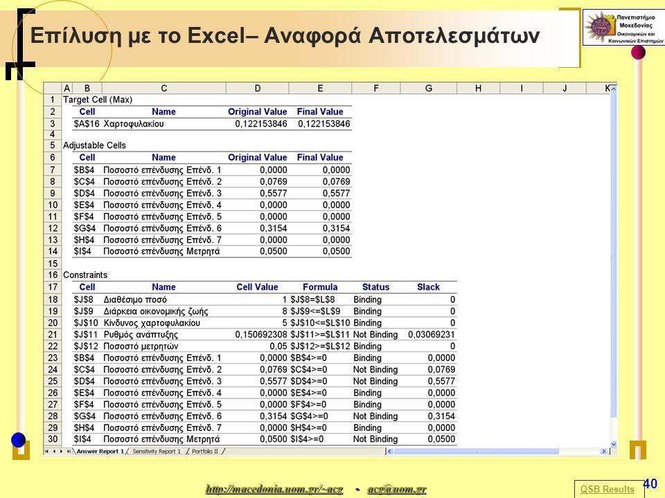 http://macedonia.uom.gr/~acghttp://macedonia.uom.gr/~acg - acg@uom.gr acg@uom.gr http://macedonia.uom.gr/~acgacg@uom.gr 40 Επίλυση με το Excel– Αναφορά Αποτελεσμάτων QSB Results