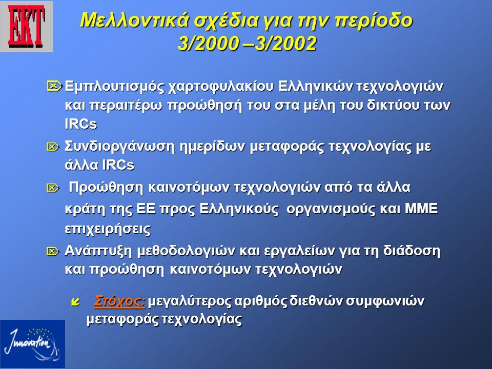 Μελλοντικά σχέδια για την περίοδο 3/2000 –3/2002  Εμπλουτισμός χαρτοφυλακίου Ελληνικών τεχνολογιών και περαιτέρω προώθησή του στα μέλη του δικτύου των IRCs  Συνδιοργάνωση ημερίδων μεταφοράς τεχνολογίας με άλλα IRCs  Προώθηση καινοτόμων τεχνολογιών από τα άλλα κράτη της ΕΕ προς Ελληνικούς οργανισμούς και ΜΜΕ επιχειρήσεις  Ανάπτυξη μεθοδολογιών και εργαλείων για τη διάδοση και προώθηση καινοτόμων τεχνολογιών  Στόχος: μεγαλύτερος αριθμός διεθνών συμφωνιών μεταφοράς τεχνολογίας