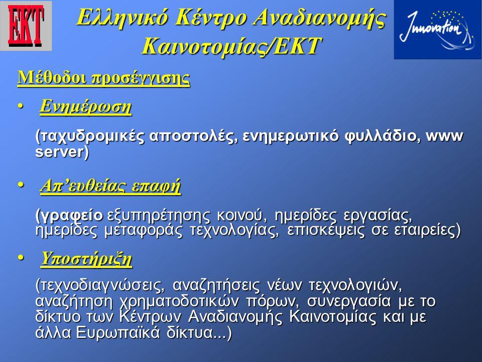 Ελληνικό Κέντρο Αναδιανομής Καινοτομίας/ΕΚΤ ΠΛΕΟΝΕΚΤΗΜΑΤΑ ΤΗΣ ΚΟΙΝΟΠΡΑΞΙΑΣ  Κάλυψη του συνόλου της Ελληνικής Βιομηχανικής Δραστηριότητας  Αμεση επικοινωνία με τις επιχειρήσεις  Στενή συνεργασία με Παν/μια και ερευνητικούς φορείς  Υποστήριξη πρόσβασης σε παγκόσμιο επίπεδο σε όλες σχεδόν τις πηγές Επιστημονικής και Τεχνολογικής βιβλιογραφίας  Κομβικό σημείο διάχυσης Ε&ΤΑ πληροφοριών