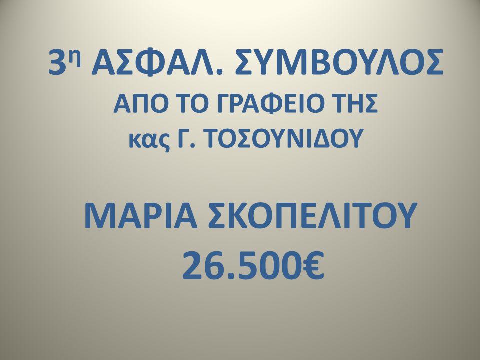 3 η ΑΣΦΑΛ. ΣΥΜΒΟΥΛΟΣ AΠΟ ΤΟ ΓΡΑΦΕΙΟ ΤΗΣ κας Γ. ΤΟΣΟΥΝΙΔΟΥ ΜΑΡΙΑ ΣΚΟΠΕΛΙΤΟΥ 26.500€