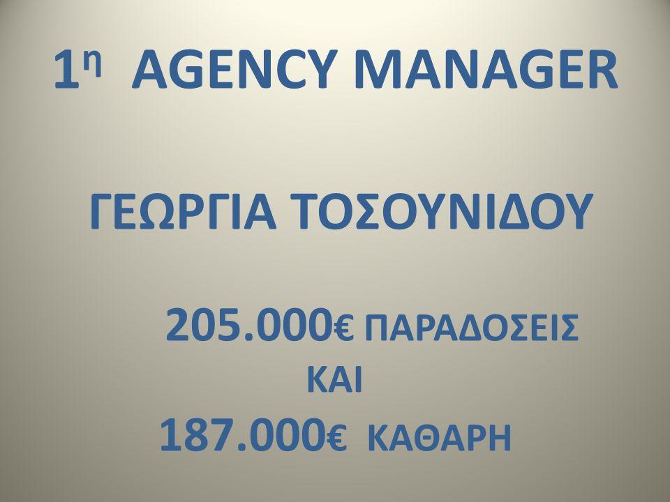 1 η AGENCY MANAGER ΓΕΩΡΓΙΑ ΤΟΣΟΥΝΙΔΟΥ 205.000 € ΠΑΡΑΔΟΣΕΙΣ ΚΑΙ 187.000 € ΚΑΘΑΡΗ