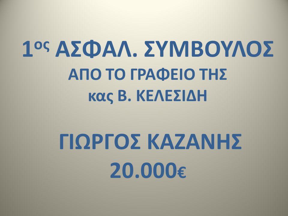 1 ος ΑΣΦΑΛ. ΣΥΜΒΟΥΛΟΣ ΑΠΟ ΤΟ ΓΡΑΦΕΙΟ ΤΗΣ κας Β. ΚΕΛΕΣΙΔΗ ΓΙΩΡΓΟΣ ΚΑΖΑΝΗΣ 20.000 €