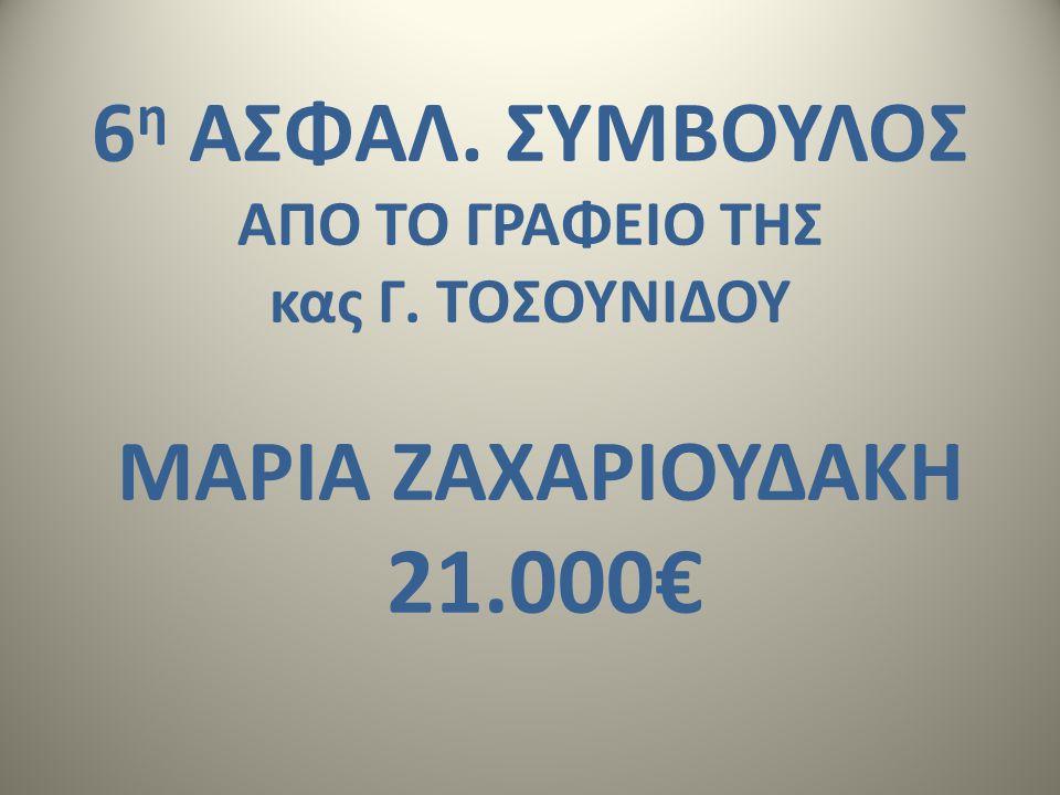 6 η ΑΣΦΑΛ. ΣΥΜΒΟΥΛΟΣ AΠΟ ΤΟ ΓΡΑΦΕΙΟ ΤΗΣ κας Γ. ΤΟΣΟΥΝΙΔΟΥ ΜΑΡΙΑ ΖΑΧΑΡΙΟΥΔΑΚΗ 21.000€
