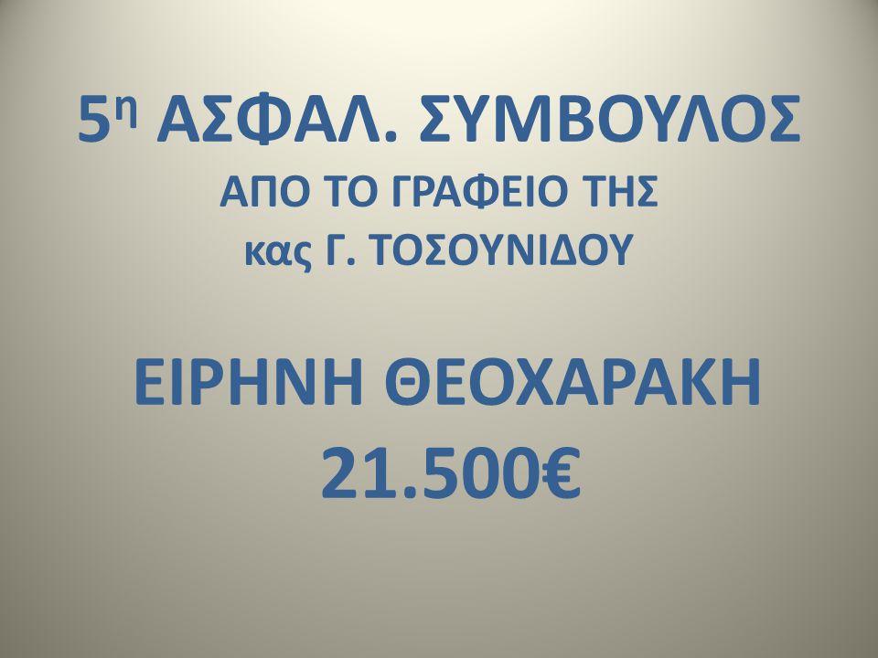 5 η ΑΣΦΑΛ. ΣΥΜΒΟΥΛΟΣ AΠΟ ΤΟ ΓΡΑΦΕΙΟ ΤΗΣ κας Γ. ΤΟΣΟΥΝΙΔΟΥ ΕΙΡΗΝΗ ΘΕΟΧΑΡΑΚΗ 21.500€