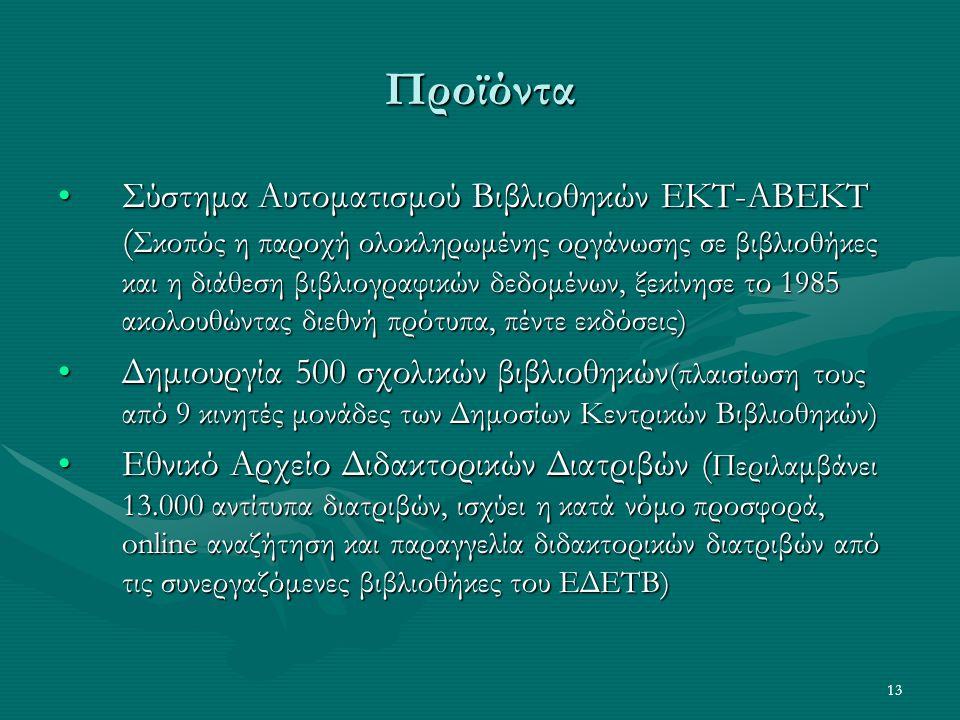 13 Προϊόντα Σύστημα Αυτοματισμού Βιβλιοθηκών ΕΚΤ-ΑΒΕΚΤ ( Σκοπός η παροχή ολοκληρωμένης οργάνωσης σε βιβλιοθήκες και η διάθεση βιβλιογραφικών δεδομένων, ξεκίνησε το 1985 ακολουθώντας διεθνή πρότυπα, πέντε εκδόσεις)Σύστημα Αυτοματισμού Βιβλιοθηκών ΕΚΤ-ΑΒΕΚΤ ( Σκοπός η παροχή ολοκληρωμένης οργάνωσης σε βιβλιοθήκες και η διάθεση βιβλιογραφικών δεδομένων, ξεκίνησε το 1985 ακολουθώντας διεθνή πρότυπα, πέντε εκδόσεις) Δημιουργία 500 σχολικών βιβλιοθηκών (πλαισίωση τους από 9 κινητές μονάδες των Δημοσίων Κεντρικών Βιβλιοθηκών)Δημιουργία 500 σχολικών βιβλιοθηκών (πλαισίωση τους από 9 κινητές μονάδες των Δημοσίων Κεντρικών Βιβλιοθηκών) Εθνικό Αρχείο Διδακτορικών Διατριβών ( Περιλαμβάνει 13.000 αντίτυπα διατριβών, ισχύει η κατά νόμο προσφορά, online αναζήτηση και παραγγελία διδακτορικών διατριβών από τις συνεργαζόμενες βιβλιοθήκες του ΕΔΕΤΒ)Εθνικό Αρχείο Διδακτορικών Διατριβών ( Περιλαμβάνει 13.000 αντίτυπα διατριβών, ισχύει η κατά νόμο προσφορά, online αναζήτηση και παραγγελία διδακτορικών διατριβών από τις συνεργαζόμενες βιβλιοθήκες του ΕΔΕΤΒ)