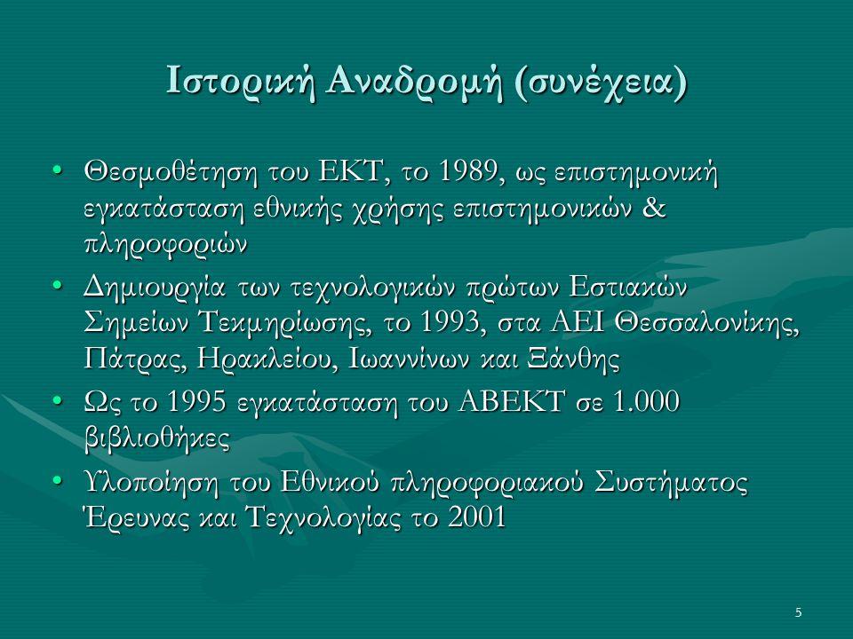5 Ιστορική Αναδρομή (συνέχεια) Θεσμοθέτηση του ΕΚΤ, το 1989, ως επιστημονική εγκατάσταση εθνικής χρήσης επιστημονικών & πληροφοριώνΘεσμοθέτηση του ΕΚΤ, το 1989, ως επιστημονική εγκατάσταση εθνικής χρήσης επιστημονικών & πληροφοριών Δημιουργία των τεχνολογικών πρώτων Εστιακών Σημείων Τεκμηρίωσης, το 1993, στα ΑΕΙ Θεσσαλονίκης, Πάτρας, Ηρακλείου, Ιωαννίνων και ΞάνθηςΔημιουργία των τεχνολογικών πρώτων Εστιακών Σημείων Τεκμηρίωσης, το 1993, στα ΑΕΙ Θεσσαλονίκης, Πάτρας, Ηρακλείου, Ιωαννίνων και Ξάνθης Ως το 1995 εγκατάσταση του ΑΒΕΚΤ σε 1.000 βιβλιοθήκεςΩς το 1995 εγκατάσταση του ΑΒΕΚΤ σε 1.000 βιβλιοθήκες Υλοποίηση του Εθνικού πληροφοριακού Συστήματος Έρευνας και Τεχνολογίας το 2001Υλοποίηση του Εθνικού πληροφοριακού Συστήματος Έρευνας και Τεχνολογίας το 2001