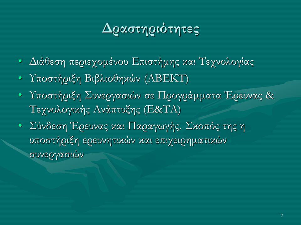 7 Δραστηριότητες Διάθεση περιεχομένου Επιστήμης και ΤεχνολογίαςΔιάθεση περιεχομένου Επιστήμης και Τεχνολογίας Υποστήριξη Βιβλιοθηκών (ΑΒΕΚΤ)Υποστήριξη