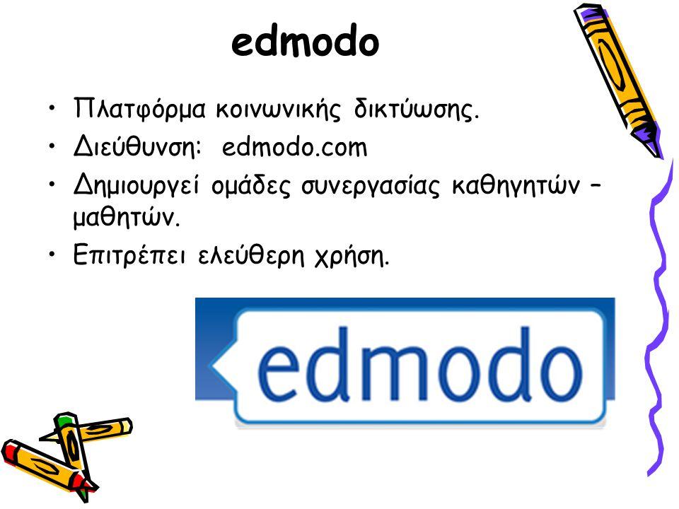 edmodo Πλατφόρμα κοινωνικής δικτύωσης. Διεύθυνση: edmodo.com Δημιουργεί ομάδες συνεργασίας καθηγητών – μαθητών. Επιτρέπει ελεύθερη χρήση.