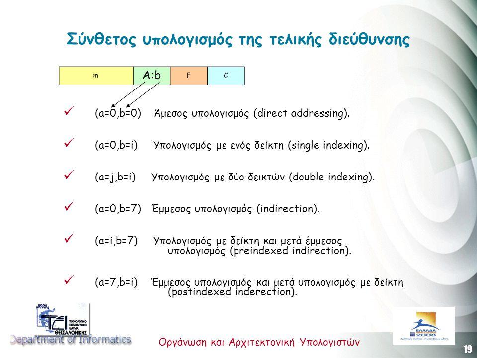 19 Οργάνωση και Αρχιτεκτονική Υπολογιστών Σύνθετος υπολογισμός της τελικής διεύθυνσης (a=0,b=0) Άμεσος υπολογισμός (direct addressing).