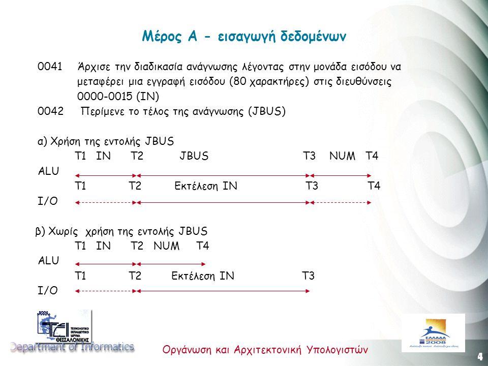 4 Οργάνωση και Αρχιτεκτονική Υπολογιστών Μέρος Α - εισαγωγή δεδομένων 0041 Άρχισε την διαδικασία ανάγνωσης λέγοντας στην μονάδα εισόδου να μεταφέρει μια εγγραφή εισόδου (80 χαρακτήρες) στις διευθύνσεις 0000-0015 (IN) 0042 Περίμενε το τέλος της ανάγνωσης (JBUS) α) Χρήση της εντολής JBUS Τ1 ΙΝ Τ2 JBUS Τ3 NUM Τ4 ALU T1 Τ2 Εκτέλεση ΙΝ Τ3 T4 Ι/Ο β) Χωρίς χρήση της εντολής JBUS Τ1 ΙΝ Τ2 NUM T4 ALU T1 Τ2 Εκτέλεση ΙΝ Τ3 Ι/Ο