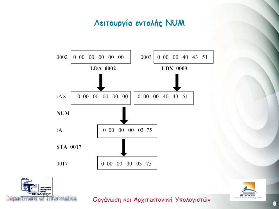 6 Οργάνωση και Αρχιτεκτονική Υπολογιστών Λειτουργία εντολής ΝUM