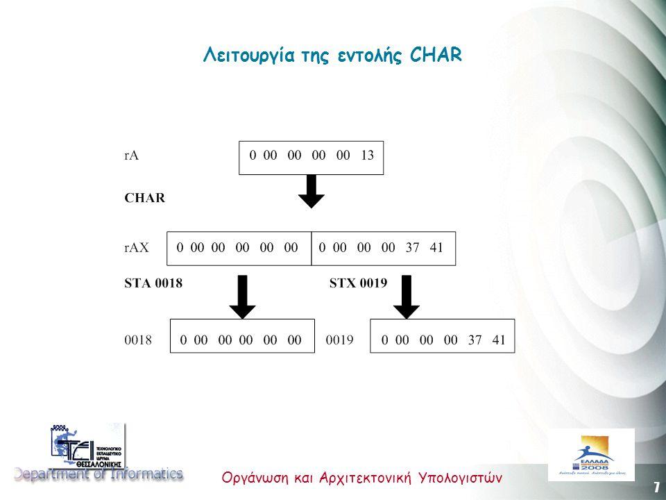 7 Οργάνωση και Αρχιτεκτονική Υπολογιστών Λειτουργία της εντολής CHAR