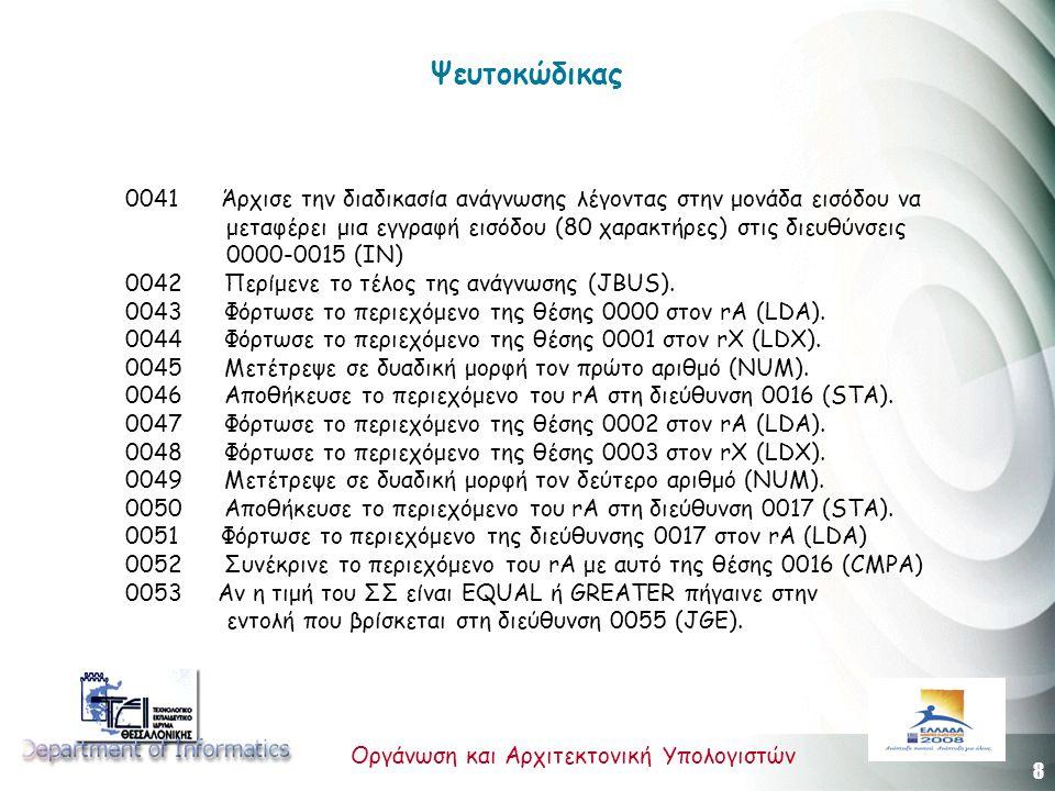 8 Οργάνωση και Αρχιτεκτονική Υπολογιστών Ψευτοκώδικας 0041 Άρχισε την διαδικασία ανάγνωσης λέγοντας στην μονάδα εισόδου να μεταφέρει μια εγγραφή εισόδου (80 χαρακτήρες) στις διευθύνσεις 0000-0015 (IN) 0042 Περίμενε το τέλος της ανάγνωσης (JBUS).