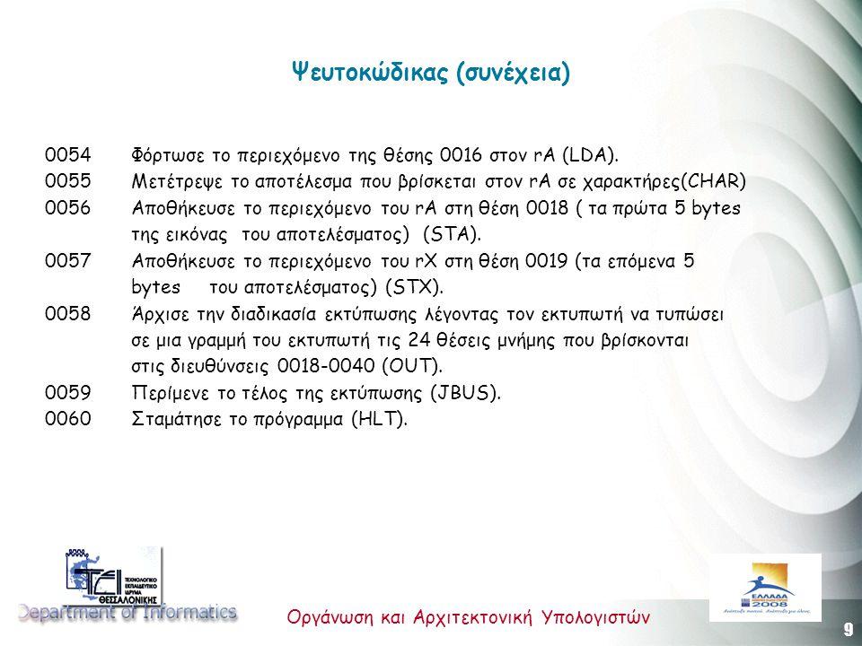 9 Οργάνωση και Αρχιτεκτονική Υπολογιστών Ψευτοκώδικας (συνέχεια) 0054 Φόρτωσε το περιεχόμενο της θέσης 0016 στον rA (LDA).