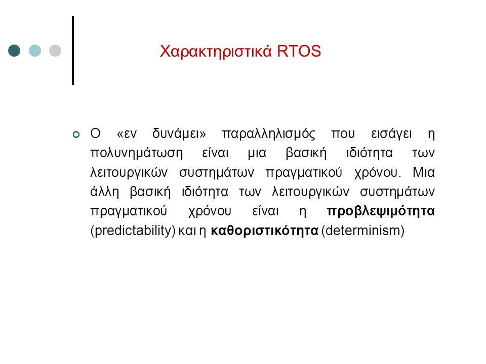 Χαρακτηριστικά RTOS Ο «εν δυνάμει» παραλληλισμός που εισάγει η πολυνημάτωση είναι μια βασική ιδιότητα των λειτουργικών συστημάτων πραγματικού χρόνου.