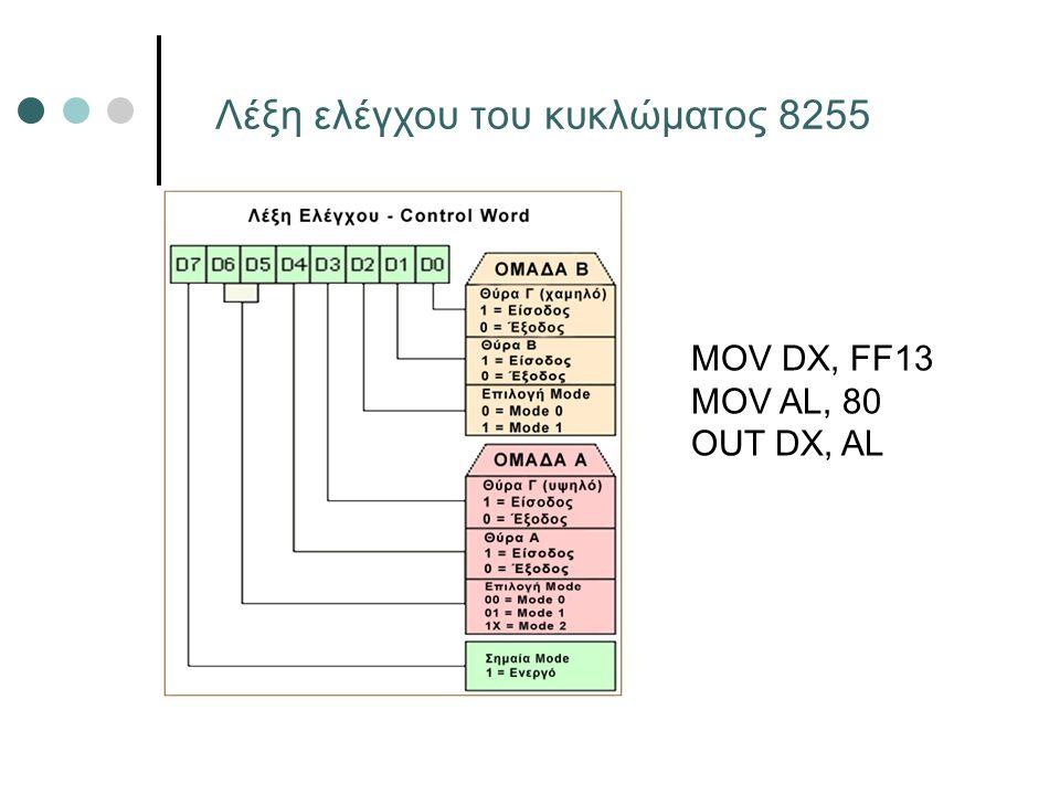 Λέξη ελέγχου του κυκλώματος 8255 MOV DX, FF13 MOV AL, 80 OUT DX, AL