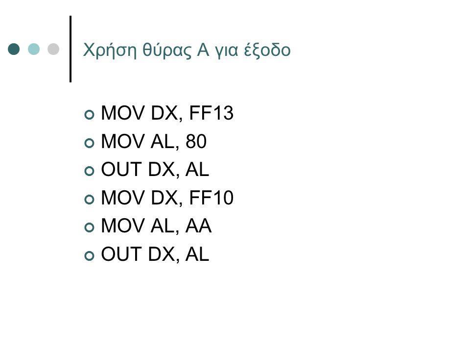 Χρήση θύρας Α για έξοδο MOV DX, FF13 MOV AL, 80 OUT DX, AL MOV DX, FF10 MOV AL, AA OUT DX, AL