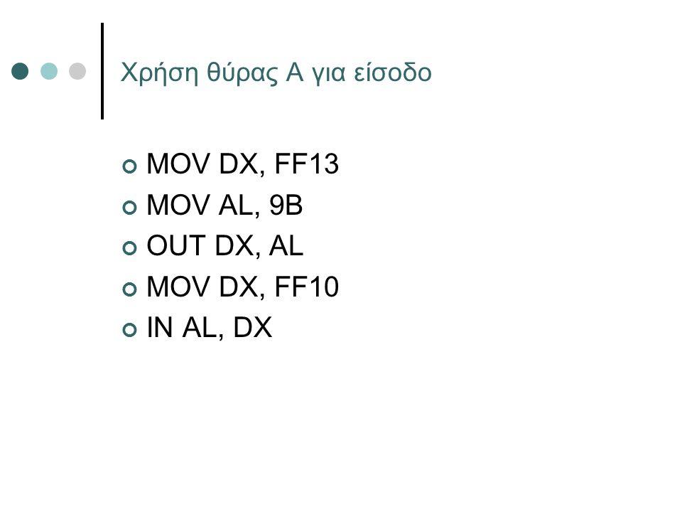 Χρήση θύρας Α για είσοδο MOV DX, FF13 MOV AL, 9Β OUT DX, AL MOV DX, FF10 IN AL, DX