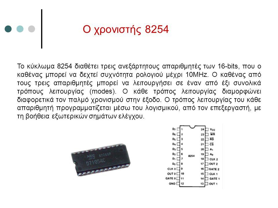 Ο χρονιστής 8254 To κύκλωμα 8254 διαθέτει τρεις ανεξάρτητους απαριθμητές των 16-bits, που ο καθένας μπορεί να δεχτεί συχνότητα ρολογιού μέχρι 10MHz. Ο